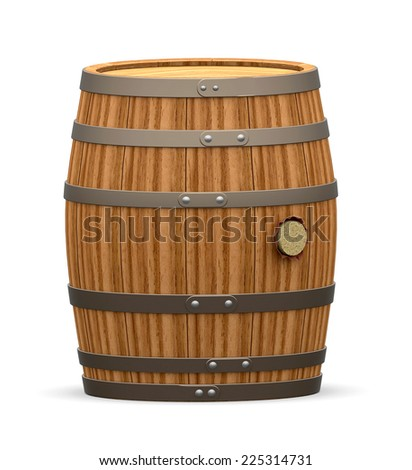 wooden barrel with a cork isolated with clipping path, 3d render - stock photo