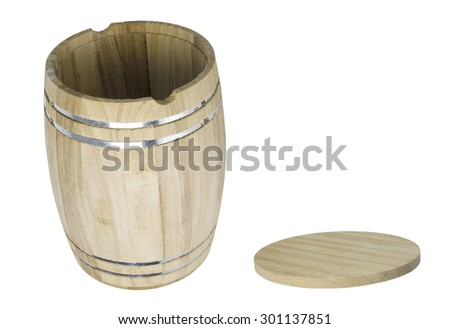 Wooden barrel with metal bands with lid - path included - stock photo