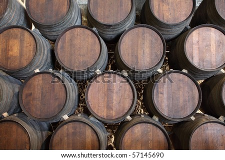 Wooden barrels in a wine cellar - stock photo