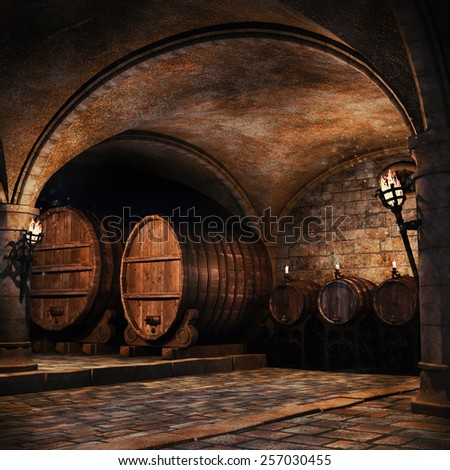Wooden barrels in an old wine cellar with torches