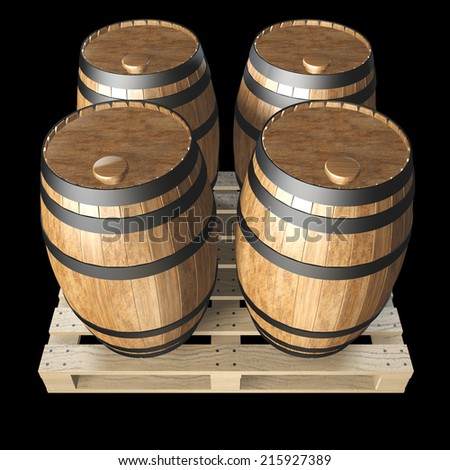 wooden barrels on wooden pallet. realistic. isolated on black background. 3d illustration - stock photo