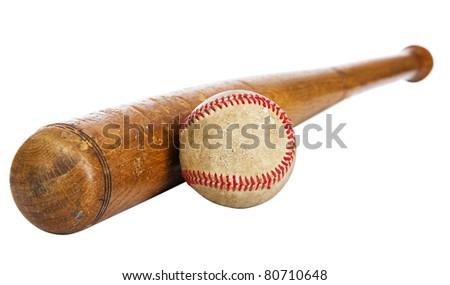 Wooden baseball bat and ball isolated on white background - stock photo