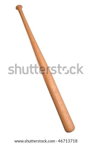 wooden baseball bat isolated on a white background - stock photo