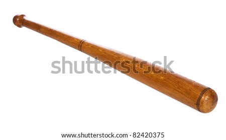 Wooden baseball bat isolated on white background - stock photo