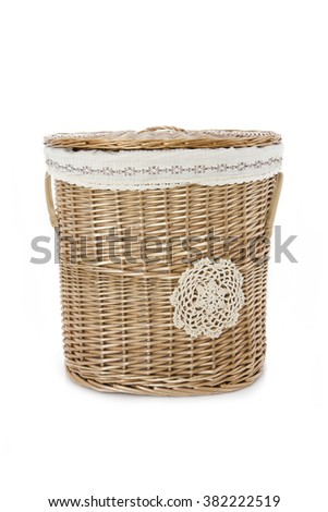 wooden basket for dirty clothes - stock photo