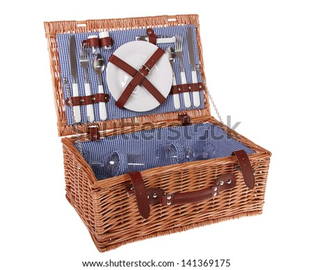 Wooden basket for picnic isolated over white - stock photo