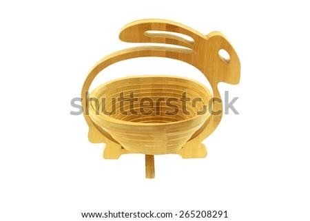 wooden basket isolated on white background - stock photo