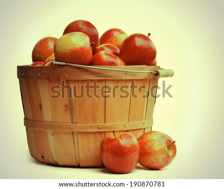 Wooden Basket of Apples in a Retro Style