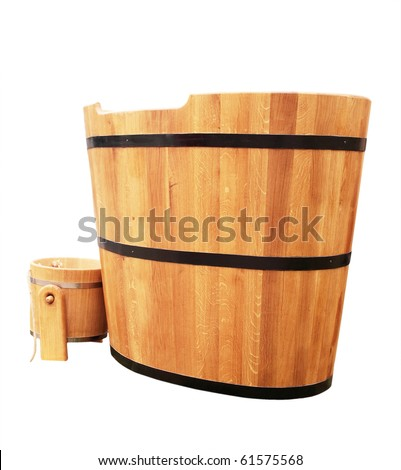 wooden bathtub in barrel shape western style