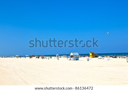 wooden bay watch hut at Miamy South Beach - stock photo