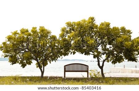 Wooden beach chair. - stock photo