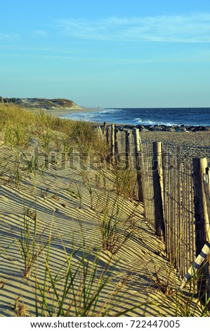 Wooden Beach Fence in the Dunes