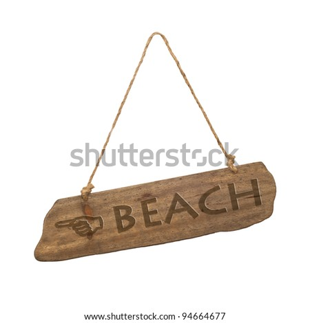Wooden, beach sign on a white background
