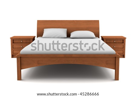wooden bed isolated on white background with clipping path - stock photo