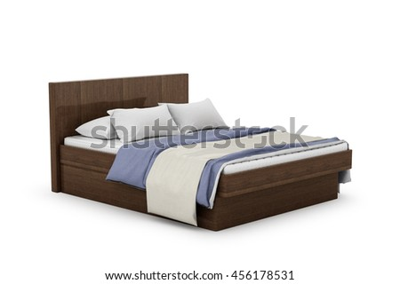 wooden bed with mattress and bedding. 3d illustration