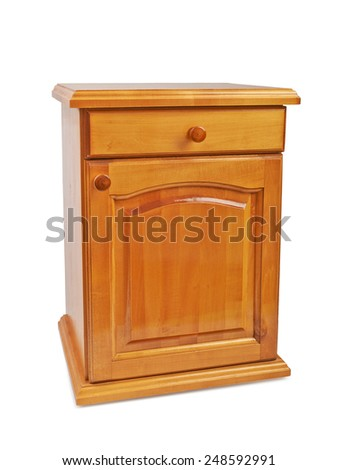 Wooden bedside nightstand isolated on a white background - stock photo