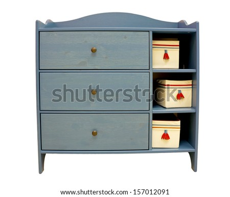 wooden bedside table with three drawers (isolate) - stock photo
