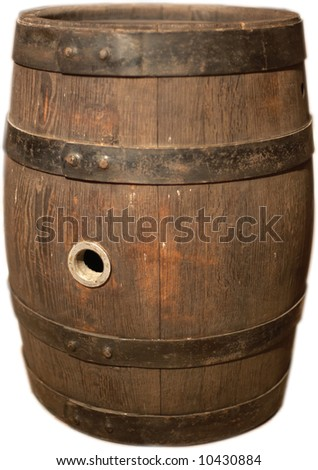 wooden beer keg isolated - stock photo