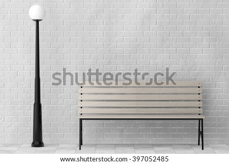 Wooden Bench and Street Lamp against white brick wall extreme closeup - stock photo