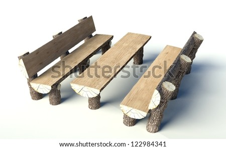 Wooden Bench And Table Made Of Tree Trunks, Objects