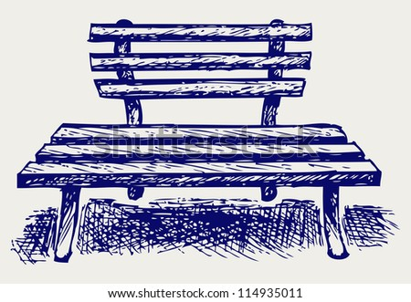 Wooden bench. Doodle style. Raster version - stock photo