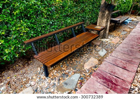 wooden bench for smoking area. - stock photo