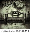 wooden bench in old room - stock photo