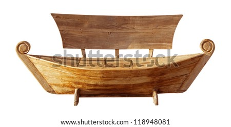 Wooden bench in style boat. Clipping path included.
