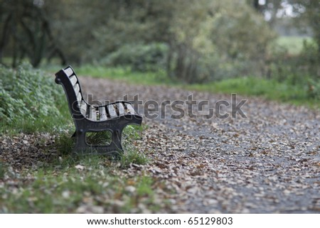 Wooden bench in the park in autumn - stock photo