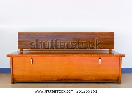 Wooden bench isolated in white background - stock photo