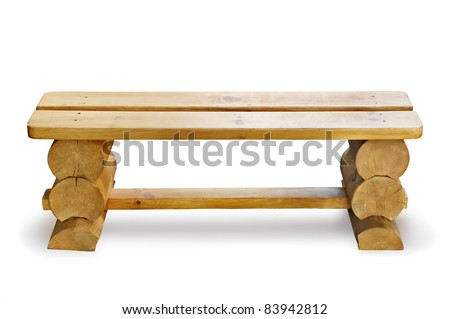 wooden bench isolated on a white background