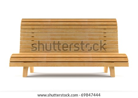 wooden bench isolated on white background with clipping path
