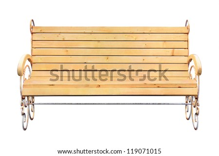 Wooden bench isolated on white (with clipping path) - stock photo