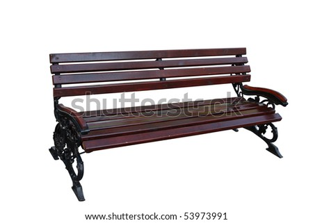 Wooden bench on twisted legs separately on a white background