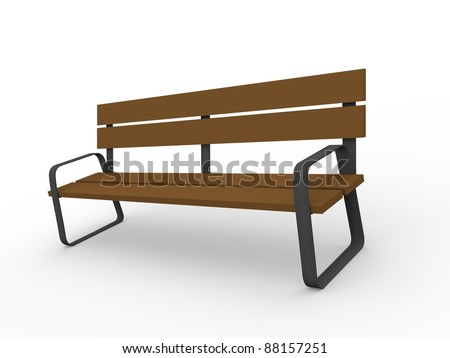 Wooden bench over a white background. 3d render - stock photo