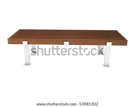 Wooden bench with metal foot in the park - stock photo