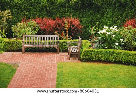 Wooden benches in the garden