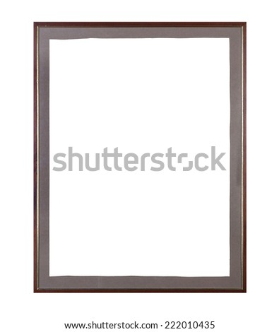Wooden big frame with irregular old paper - stock photo