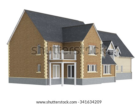 Wooden big house. 3D graphic isolated object on white background