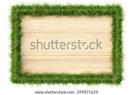 Wooden billboard with edges from grass. isolated on a white background.