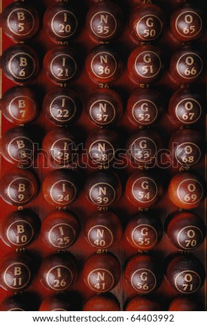 wooden bingo balls- close up - stock photo