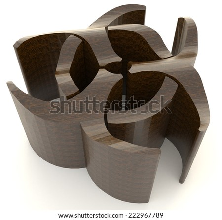 Wooden bio hazard radiation symbol in isolated background, create by 3D  - stock photo