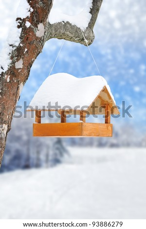 Wooden bird feeder on a tree - stock photo