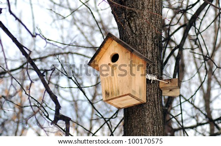 Wooden bird feeder on a tree trunk in winter forest - stock photo