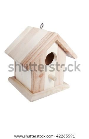 wooden bird house isolated on white background - stock photo