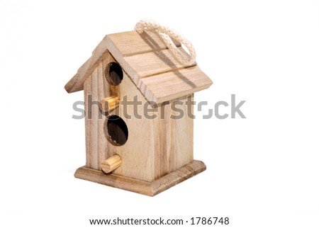 wooden birdhouse isolated on white - stock photo