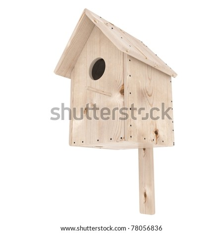 Wooden birdhouse isolated on white background - stock photo