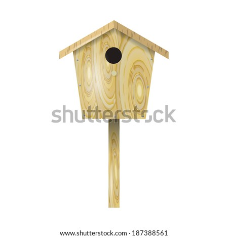 Wooden birdhouse on a white background - stock photo