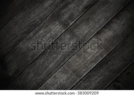 Wooden black boards as dark background - stock photo