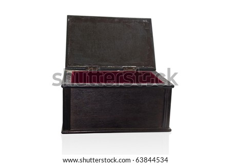 Wooden black casket, isolated on a white background - stock photo